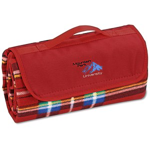 Roll-Up Blanket – Red/Blue Plaid with Red Flap