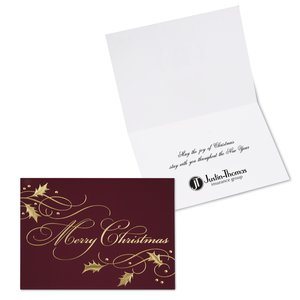Burgundy Christmas Greeting Card Main Image