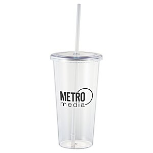 Sizzle Single Wall Tumbler with Straw - 24 oz.