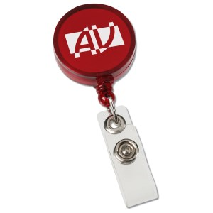 Round Retractable Badge Holder with Slide-on Clip - Closeout Main Image