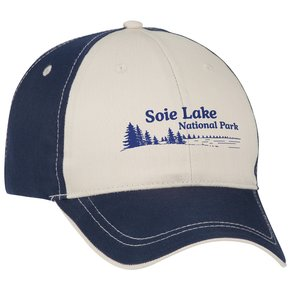 Two-Tone Polyester Cap with Contrast Stitch - Transfer Main Image