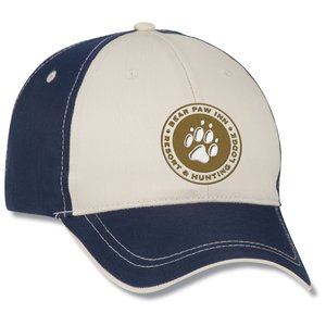 Two-Tone Polyester Cap with Contrast Stitch - Embroidered Main Image
