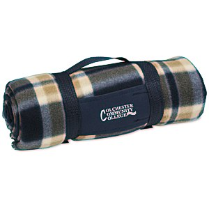 Galloway Travel Blanket – Blue/Cream Plaid Main Image