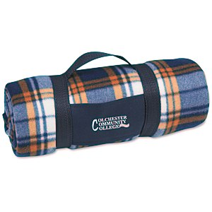 Galloway Travel Blanket – Blue/Rust Plaid Main Image