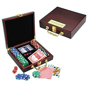 Wooden Box Poker Set Main Image