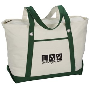 "Canvas 12 oz. Sailing Zip Top Tote - 24"" x 14"" Main Image"