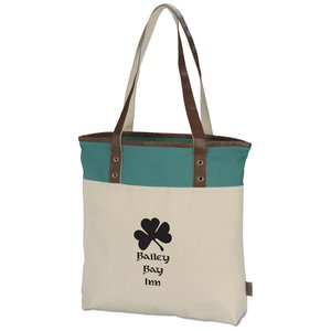 Color Banded Cotton Fashion Tote
