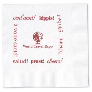 Beverage Napkin - 2-ply - White - Cheers Main Image