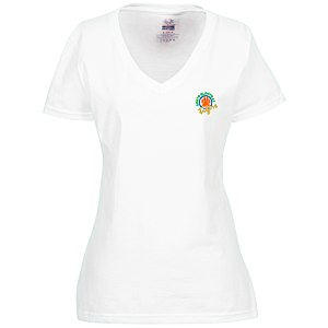 Fruit of the Loom HD V-Neck T-Shirt - Ladies' - Emb - White Main Image