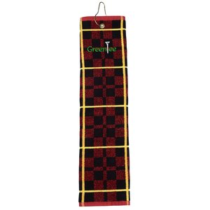 Plaid Trifold Golf Towel with Grommet - Closeout Main Image