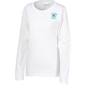 Gildan 5.3 oz. Cotton LS T-Shirt - Ladies' - Screen - White Main Image
