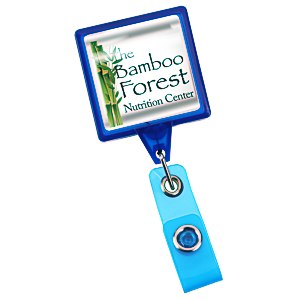 "Jumbo Retractable Badge Holder - 40"" - Square - Translucent"