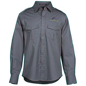 Two-Pocket Stain-Resistant Roll Sleeve Shirt - Men's