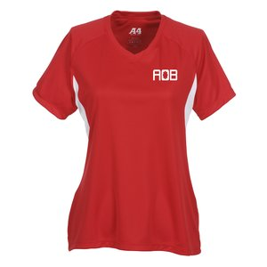 A4 Cooling Performance V-Neck Colorblock Tee-Ladies' -Screen Main Image
