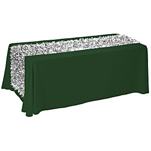 6' Closed-Back Table Throw w/Metallic Floral Runner - Blank