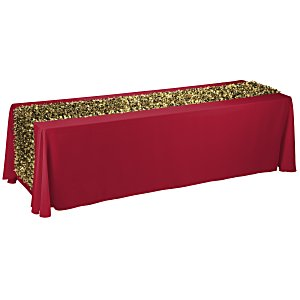 8' Closed-Back Table Throw with Metallic Floral Runner - Blank Main Image