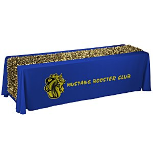 8' Closed-Back Table Throw with Metallic Floral Runner Main Image