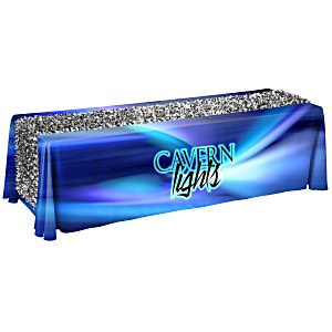 8' Closed-Back Table Throw with Metallic Floral Runner - Full Color Main Image