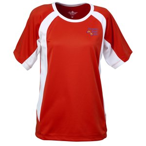 Anti-Microbial Color Block Wicking Tee-Ladies'-Emb-Closeout Main Image