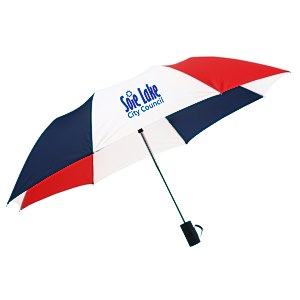 "42"" Folding Umbrella with Auto Open - Red/White/Blue - 24 hr Main Image"