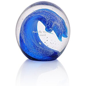 Wave Art Glass Paperweight Main Image