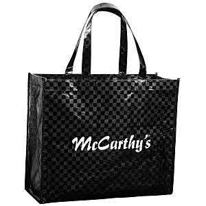 "Metallic Gloss Checkered Designer Tote - 13"" x 16"" Main Image"