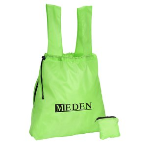 Compact Drawstring Tote with Side Zip Pocket Main Image