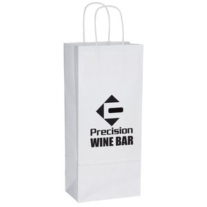 "White Kraft Shopping Bags - 13"" x 5-1/2"" Main Image"