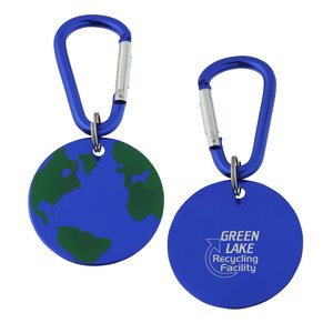 Aluminum Dog Tag Key Chain - Globe - Closeout Main Image