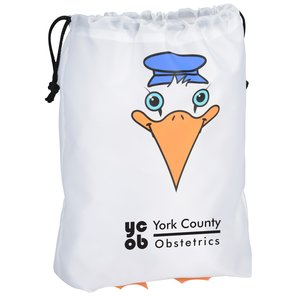 Paws and Claws Drawstring Gift Bag - Stork