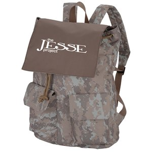 In Print Rucksack Backpack - Camo Main Image