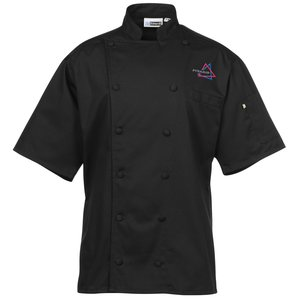 Twelve Cloth Button Short Sleeve Chef Coat with Mesh Back