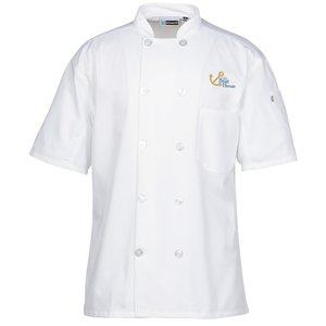 Ten Button Short Sleeve Chef Coat with Mesh Back Main Image