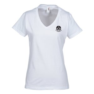 Anvil Ringspun 4.5 oz. V-Neck T-Shirt - Ladies' - White Main Image