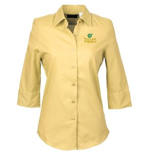 Soft Collar ¾ Sleeve Poplin Shirt – Ladies' - Closeout Color Main Image
