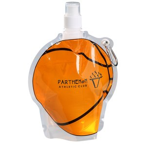 HydroPouch Collapsible Bottle-24 oz.-Basketball-Overstock Main Image