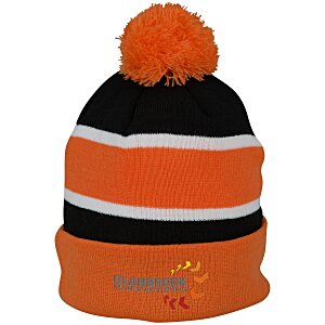 Striped Pom Pom Cuffed Beanie - 24 hr Main Image