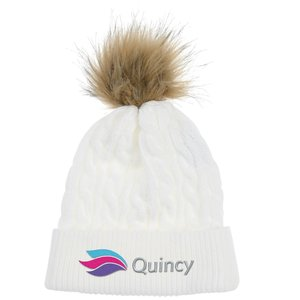 4imprint.com  Cable Knit Beanie with Faux Fur Pom Pom 145285 3f4530d6c67