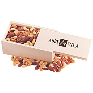 Wooden Box with Mixed Nuts Main Image
