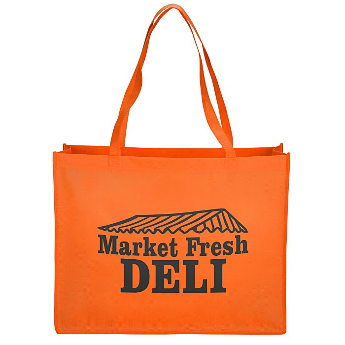 Custom tote bags personalized totes with your logo at 4imprint celebration shopping tote bag 16quot maxwellsz