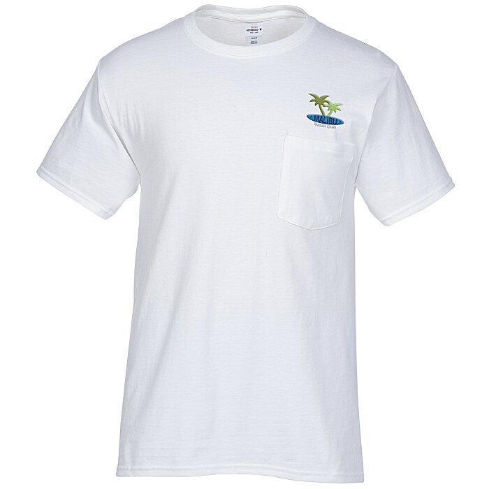 4imprint Hanes Tagless Pocket T Shirt Embroidered White