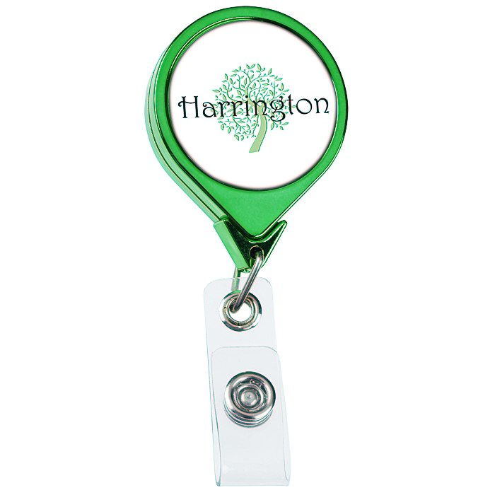 Retractable Badge Holder - Round - Chrome Finish
