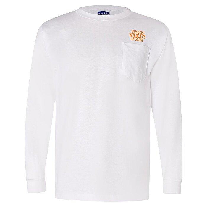 297672c055b 4imprint.com  Bayside Union Made LS Pocket T-Shirt - White 111873-LS-P-W