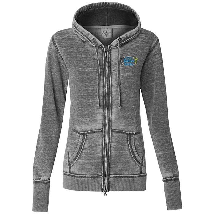 J  America Zen Full-Zip Hooded Sweatshirt - Ladies' - Embroidered