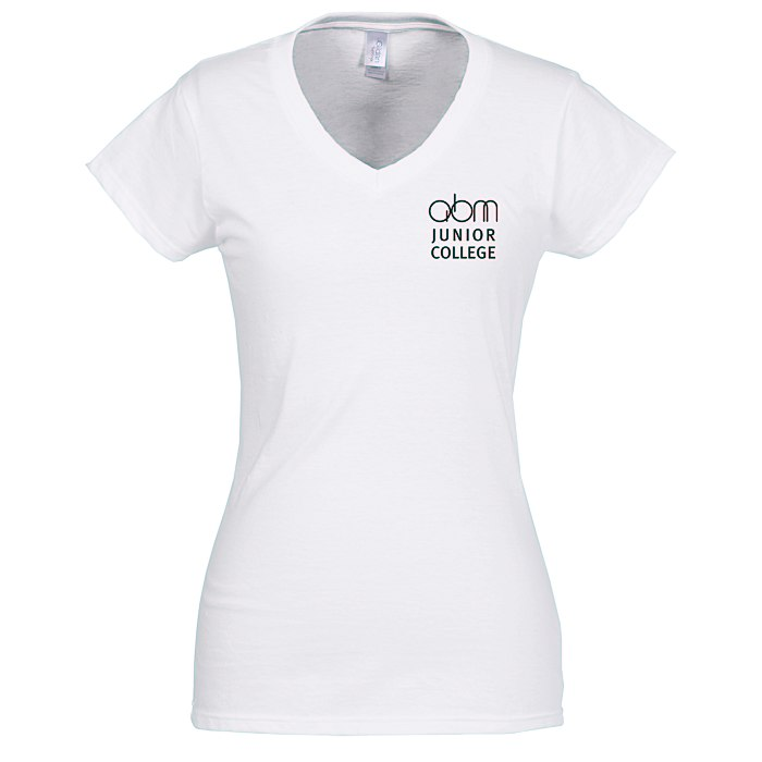 c6a356e214e 4imprint.com  Gildan Softstyle V-Neck T-Shirt - Ladies  - White 103476-L-VN- W