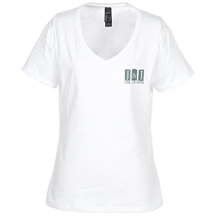 4imprint hanes nano t v neck t shirt white 103478 l vn w imprinted with your logo