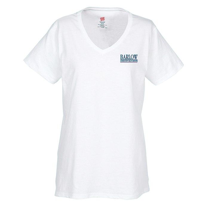 9c907dbbf 4imprint.com: Hanes ComfortSoft V-Neck Tee - Ladies' - Screen - White  8884-L-VN-S-W