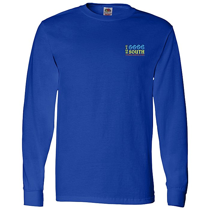 a654f06f4921 Fruit of the Loom Long Sleeve 100% Cotton T-Shirt - Colors - Embroidered