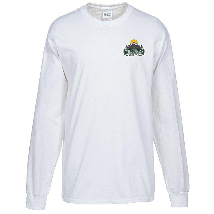 10c0fe4b 4imprint.com: Gildan Ultra Cotton Heavyweight LS Tee - White - Embroidered  4804-W-E