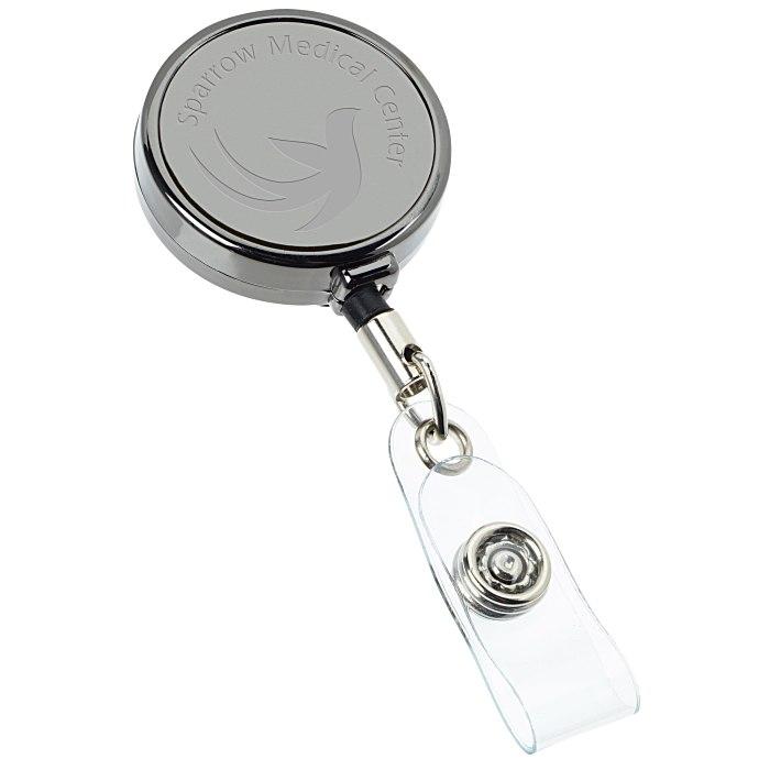 Metal Retractable Badge Holder - Slip Clip - Round - Gunmetal - Laser  Engraved